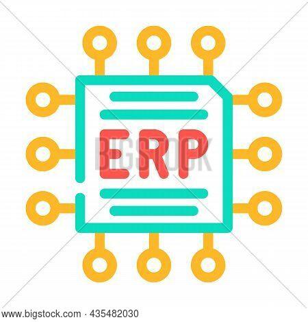 Cpu Enterprise Resource Planning Color Icon Vector. Cpu Enterprise Resource Planning Sign. Isolated