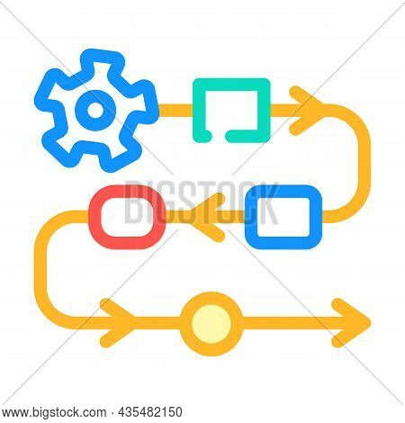 Production Stages At Enterprise Color Icon Vector. Production Stages At Enterprise Sign. Isolated Sy
