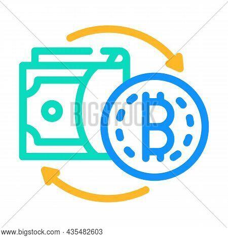 Money Exchange Cryptocurrency Globalization Color Icon Vector. Money Exchange Cryptocurrency Globali