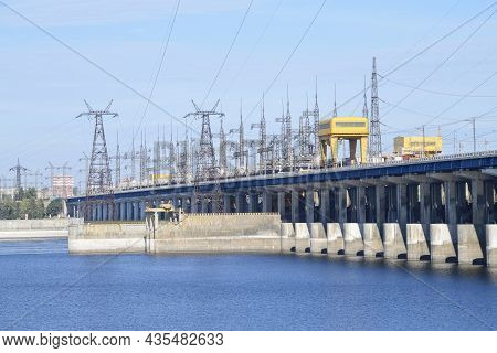 Volgograd, Russia - September 19, 2021: Sunny Day At The Volga Hydroelectric Power Station
