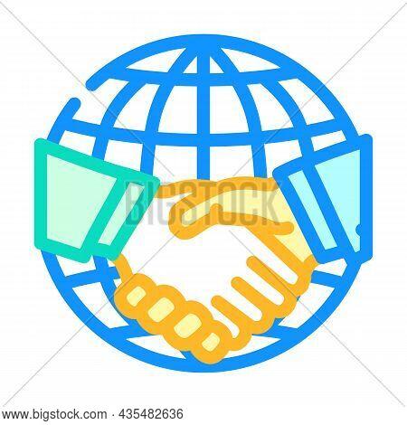 International Partnership Color Icon Vector. International Partnership Sign. Isolated Symbol Illustr