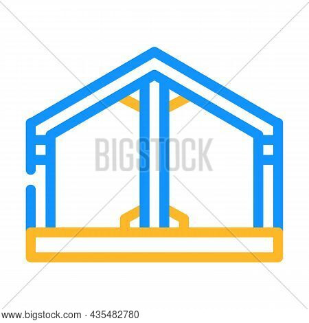 Building Metallic Framework Color Icon Vector. Building Metallic Framework Sign. Isolated Symbol Ill