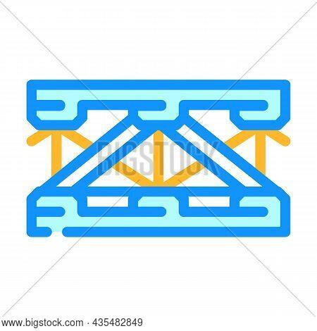 Bridge Metal Material Frame Color Icon Vector. Bridge Metal Material Frame Sign. Isolated Symbol Ill