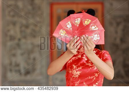 Beautiful Asian Woman Hands In Red Chinese Dress Traditional Cheongsam Qipao With Gesture Of Showing