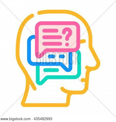 Discussion In Head Color Icon Vector. Discussion In Head Sign. Isolated Symbol Illustration
