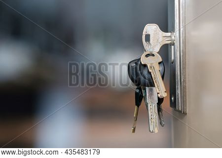 The Bunch Of Keys With Keyring In The Door Keyhole With Blurred Background, Selective Focus