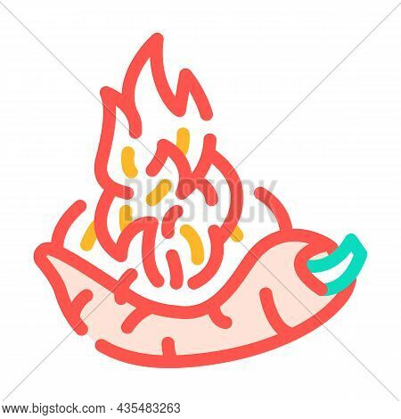 Burning Pepper Vegetable Color Icon Vector. Burning Pepper Vegetable Sign. Isolated Symbol Illustrat