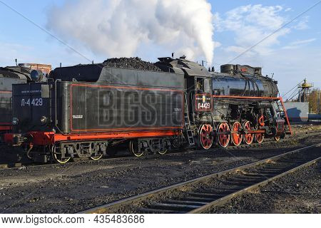 Sortavala, Russia - October 07, 2021: Old Soviet Steam Locomotive L-4429 On The Sortavala Station On