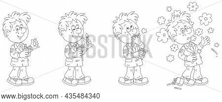 Comic Strip Of A Funny Schoolboy Unsuccessfully Trying To Smoke His First Cigarette, Black And White