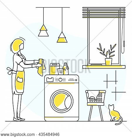 Vector Illustration Apartment House Cleaning Maid Service Woman Cleans The Bathroom. Professional Hy