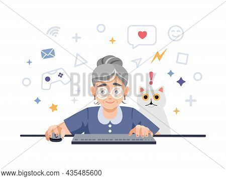 A Happy Excited Old, Elderly Woman, Retired, Grandmother Is Playing Video Games On The Computer, Lap