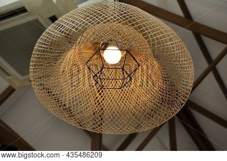 Interior Decoration Furniture And Lighting Ceiling Hanging Lamp With Bamboo Wicker Weave On Roof In