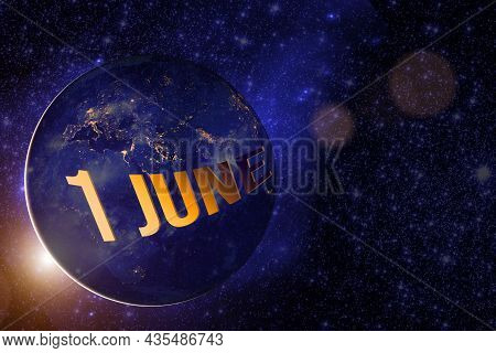 June 1st . Day 1 Of Month, Calendar Date. Earth Globe Planet With Sunrise And Calendar Day. Elements