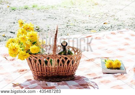 Picnic Basket On The Red Blanket At Nature. White Wine, Book, Picnic