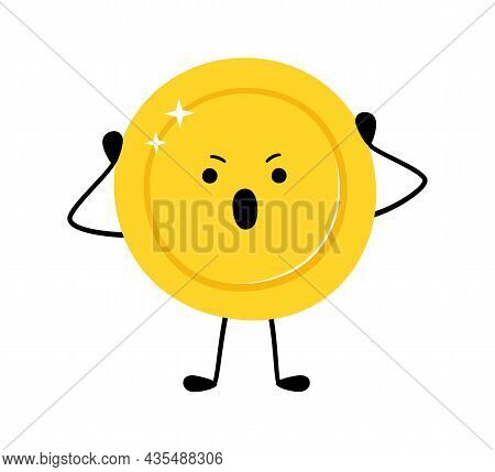 Cute Gold Coin. Scared Money Coin Character. Vector Cartoon Illustration Isolated On White Backgroun