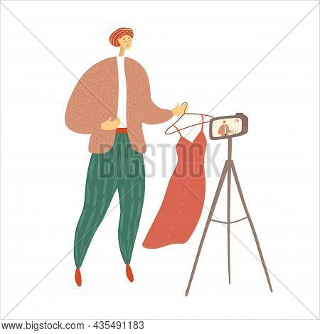 Man Recording A Video For Blog. Fashion Blogger Make Content For Followers. Stylist Gives Advice On