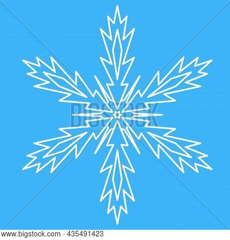 Snowflake, Simple Icon Symbol Of Winter. Star Snowflake Spark, Symmetrical Mandala Vector Illustrati
