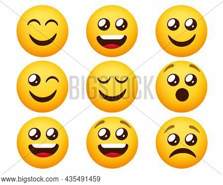 Emoticon Emoji Vector Set. Emoticons Characters In Happy And Sad Mood Expressions Isolated In White