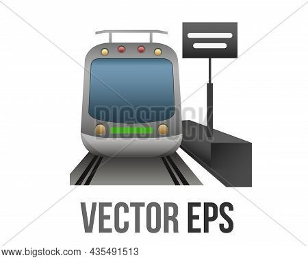 Vector Front Train Station With Alongside Platform Icon