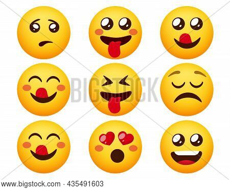 Emoticon Character Vector Set. Emoticons Emotion Characters With Happy, Crazy And Cute Facial Mood R