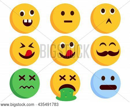 Emoticon Character Vector Set. Emoticons Flat Characters In Crazy, Sick, Vomit And Weird Facial Expr