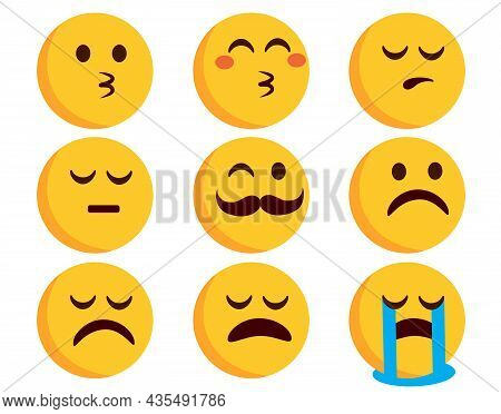 Emojis Flat Emoticon Vector Set. Emoticons Characters In Kissing, Crying And Sad Mood Expressions Is