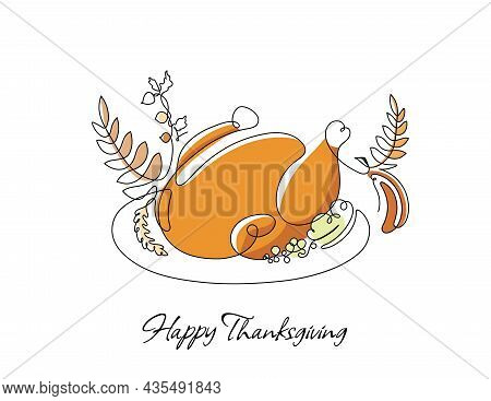 One Line Drawing Of A Turkey With Autumn Yellow And Brown Leaves. Simple Vector Illustration For Tha