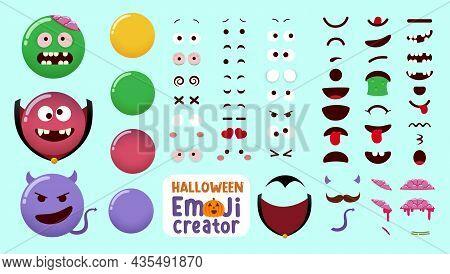 Halloween Emoji Vector Creator Kit. Emojis Character Set In Zombie, Vampire And Devil Monster Costum