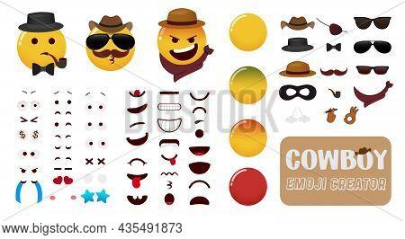 Emoji Cowboy Creator Vector Kit. Emoticons Editable Cowboys Character Set With Eyes, Mouth And Cowbo