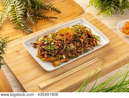 Typical Chinese Dish, Fresh Chicken Stir Fried With Noodles