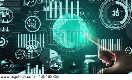 Seo - Search Engine Optimization For Online Marketing Conceptual. Modern Graphic Interface Showing S