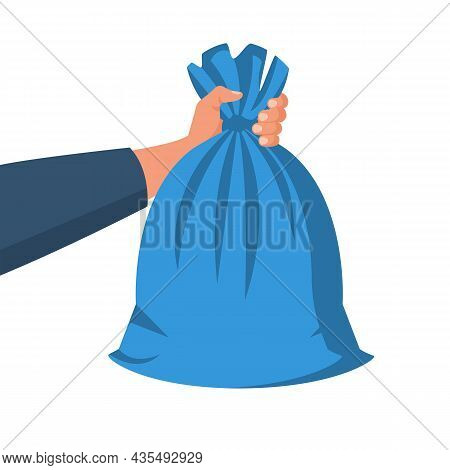 Garbage Bag Holding In Hand. Man Throwing Trash Bags. Vector Illustration Flat Design. Isolated On W
