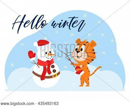 Cute Cartoon Tiger Sculpts A Snowman. A Snowman With A Scarf And A Carrot. A Postcard With An Adorab