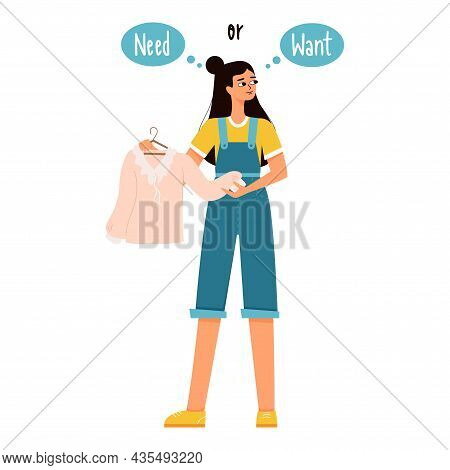 Young Girl With Dark Hair In Shorts And A T-shirt Holds A Blouse In Her Hands And Thinks She Needs I