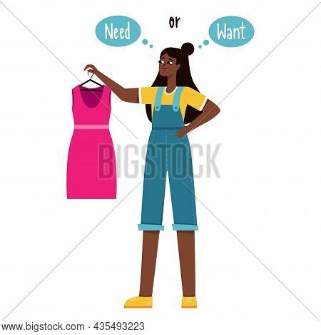 A Young Girl With Dark Skin Holds A Pink Dress In Her Hands And Thinks She Needs It Or Wants It. The
