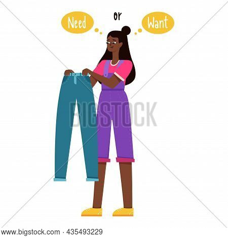A Young Girl With Dark Skin Color Holds Blue Trousers In Her Hands And Thinks She Needs It Or Wants
