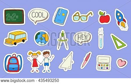 School Stickers With A White Outline. Printable Scrapbooking Sticker Set. Collection Of School Stati
