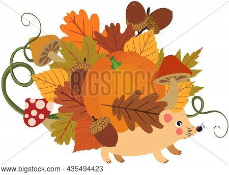 Scalable Vectorial Representing A Fall Autumn Hedgehog With Leaves And Pumpkin, Element For Design,