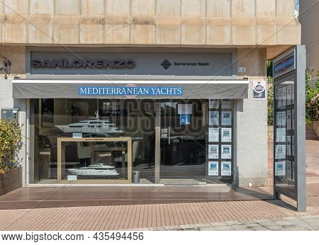 Portals Nous, Spain; October 03 2021: Showcase Of Mediterranean Yachts Luxury Yacht Charter Company,