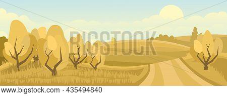 Cartoon Illustration Of The Rural Autumn Landscape