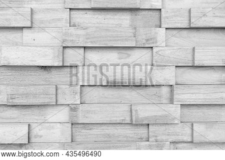 Woodblock Pattern Black And White For Background, Wooden Wall Made Up Vertically Stacked Logs For Ba