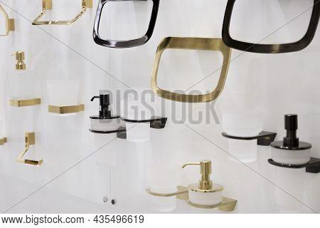 Assortment Of Accessories Bathroom Household Goods, Shelves, Towel And Toilet Paper Holders, Liquid