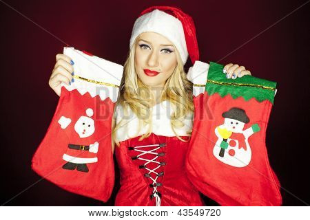 Christmas Girl With Christmas Stockings
