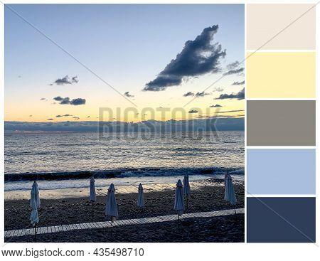 Blue And Yellow Colour Palette. Sea Sunset Tints, Color Swatch. Harmonious Colours Combinations.