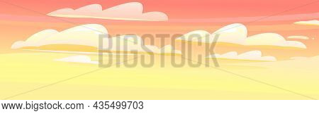Morning Or Evening Sky Clouds Background. Illustration In Cartoon Style Flat Design. Heavenly Atmosp