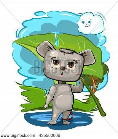 Funny Cute Mouse With A Leaf Instead Of An Umbrella. Hiding From The Rain. The Cloud Smiles. The Kid
