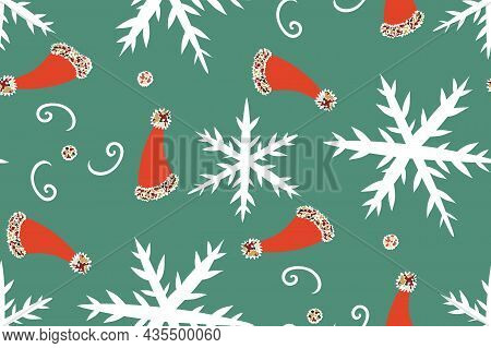 Christmas And New Year Seamless Pattern In Bright Colors With Santa Hat, Snowflakes, Ho-ho-ho Text.