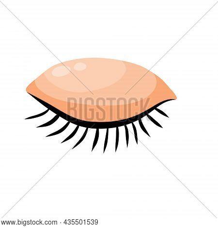 Closed Eye. Detail Of Face. Eyelid With Eyelashes. Flat Cartoon Illustration Isolated On White Backg