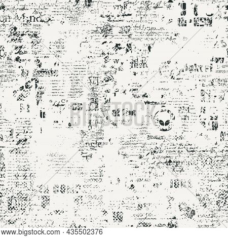 Abstract Seamless Pattern With Fragments Of Handwritten Scribbles And Newspaper Text On A Light Back