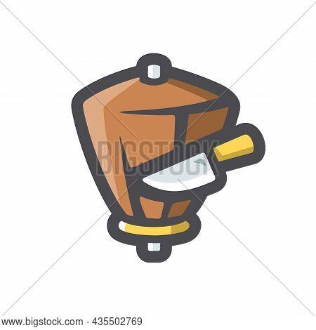 Doner Kebab And Knife Vector Icon Cartoon Illustration